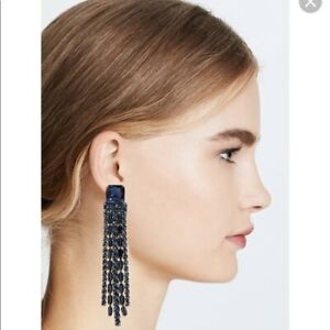 Kate Spade Glitzville Fringe Earrings Blue Sapphire Crystal New With Tags!