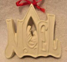 BEAUTIFUL CERAMIC BISQUE CHRISTMAS ORNAMENT 'NOEL' NATIVITY SHABBY WHITE