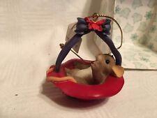 "Charming Tails ""Its Red Hat Season"" Fitz & Floyd Christmas Ornament"