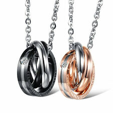 His and Hers Matching Couple Pendant Eternal Love Interlocking Ring Necklace