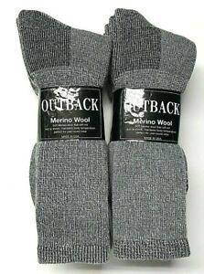6 Pair Men's Out Door Merino Wool Work / Hiking Gray Boot Sock SZ 13-15.