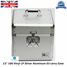 "1 x neo en aluminium argent dj stockage carry case for 100 lp vinyle 12"" disques dur"