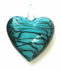 "Teal Puffy Heart Glass Pendant with Hole New 4 x 2.5 x 0.5"" DIY making"