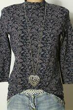 ESPRIT Shirt Gr. S/M blau-braun Paisley Muster Damen Rolli/Rollkragen Shirt