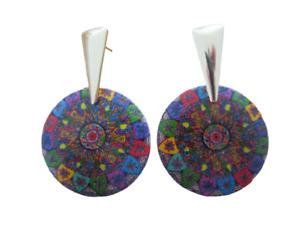 Boucles d/'oreilles en bois Artisanat bijoux  bohème multicolore rainbow créoles