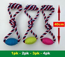 Dog Pet Rope Toys with Rubble and Rope Handle Interactive or Solo Play Toy