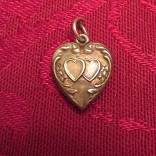 Vintage Sterling Silver Puffy Heart Charm - Two Double Intertwined Hearts