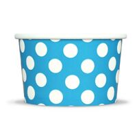 Blue Ice Cream Paper Cups - 4 oz Polka Dot Disposable Birthday Party Cups