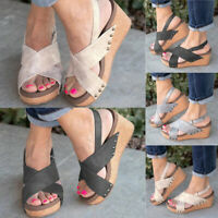 Womens Peep Toe Platform Slingback Sandals Ladies Wedge Cross Strappy Shoes Size