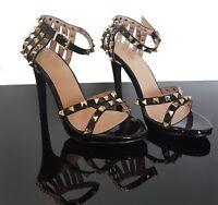 Sandali donna 38 borchie scarpe lucide sera tacco alto nero elegante cerimonia
