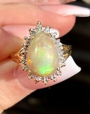 Estate 14k Gold Diamonds Halo Pear Shape Fire Opal Ring