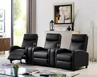 Recliner Chair Reclining Sofa Couch PU Leather Home Theater Seating+ Cup Holder