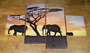 Canvas Wall Hangings of a Family of Elephants at Sunset (Split into 4 Canvases)
