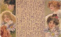 1910s KIRCHNER ? Art Nouveau women girls flowers art Russian antique postcard