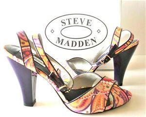 Steve madden WOMEN Strappy SANDAL Size 9.5 SLIDE Heels Purple paisley Orange New