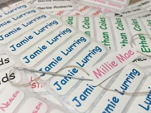 Iron On /Sew in Name Labels Personalised for School Uniform/Clothing Tag Tapes