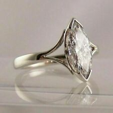 Vintage 3CT Marquise Cut Moissanite Engagement Solitaire Ring 14K White Gold FN