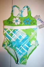 NEW GIrls Zero Xposur Green/blue one piece swimsuit w/skirt sz 4