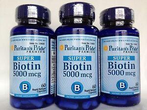 3 Puritan's Pride Biotin 5000 mcg **Supports Skin Nail Hair Health** Made In USA