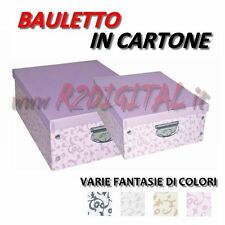 BAULETTO IN CARTONE MAX PORTA BIANCHERIA BOX BAULE MANIGLIE CESTA SALVASPAZIO