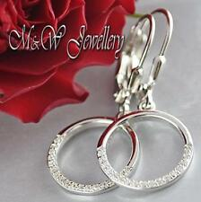 925 Sterling Silver Rhodium Plated Earrings CIRCLE - with White Zirconia
