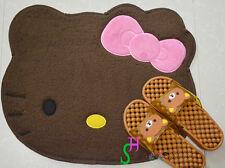 Cute Hello Kitty Pink Bow Floor Mat Brown Coffee Rug Plush Door Bedroom Mat