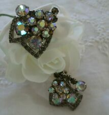 Vintage Jewellery Aurora Borealis Crystal Silver Earrings Antique Deco Jewelry
