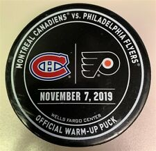 Philadelphia Flyers Game Used NHL Warm Up Puck 11/7/19 Vs. Montreal Canadiens!