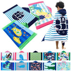 Cartoon Printed Kids Cotton Hooded Bath Wrap Towel Poncho Toddler Beach Towels