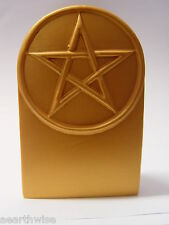 1 X GOLD PENTAGRAM ALTAR STATUE - GIFT BOXED Wicca Pagan Witch Goth Goddess