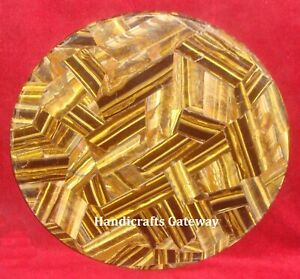 Gorgeous Tiger Eye Stone Round Coffee Table Top, Natural Stone Coffee Table