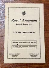 Vintage Programme - The Royal Arcanum Presents The Osiris Frolic
