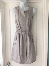 Women's HOBBS NW3 Grey Linen Casual Utility Dress Size 8