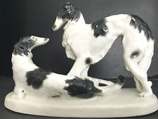 Fine Vintage~German~Schleidig OR Meernach~Borzoi Dogs Group Figure on Plinth 10""