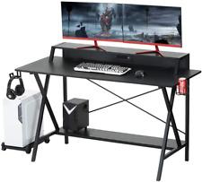"55"" Gaming Desk Computer Desk Study Writing Table Usb Cup Holder Headphone Hook"