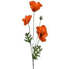 62cm Artificial Flame Orange Poppy Flower Stem - Decorative Plastic Plant