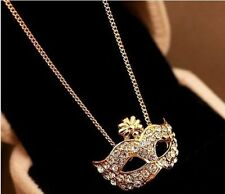 "NEW Rhinestone Crystal Gold Tone Masquerade Ball Mask Pendant Necklace 22"" Chain"