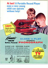 1966 PAPER AD Kenner Toy New Model Battery Operated Phonograph Record Player