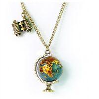 Charm Globe Telescope Celebrity Bronze Pendant Long Chain Necklace Chain gift