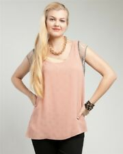 New Ladies Gorgeous Salmon Top With Chain Sleeves Plus Size 14/1XL (8477)DO
