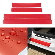 4x Red Car Door Stickers 3D Carbon Fiber Auto Door Sill Scuff Protector Stickers