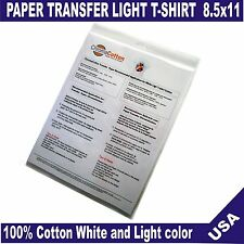25 ChromaCotton Transfer Paper 11x17 for White and light T-shirt 100% Cotton