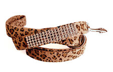 Micro-Suede Crystal Dog Leash - Leopard