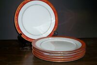 "LOT OF 6 NORITAKE GOLDHILL DINNER PLATES 10 5/8""   FREE U S SHIPPING"
