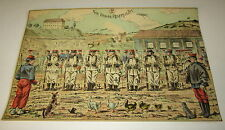 Old c.1900 Antique - French Game PRINT - Soldiers - Nos Braves Reservistes