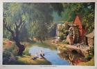 "Paul Detlefsen Good Old Days Vtg Mid Century Fishing Brown Bigelow Print 14""x19"""