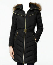 NWT MICHAEL Michael Kors Faux Fur Hood Belted Down Puffer Coat  Black (S)