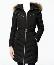 MICHAEL Michael Kors Faux Fur Hood Belted Down Puffer Coat  Black (XS)