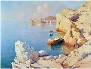Seascape A. Hanzen Sea Boat Rocks Tile Mural Kitchen Backsplash Marble Ceramic