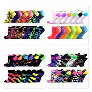 TeeHee Women's Acrylic No Show Low Cut 12-Pack Neon Animal Print Cheetah Socks